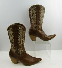 Ladies Penny Loves Kenny Brown Leather Pointed Toe Western Boots Size: 8 M