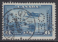 Canada #OAC6 6¢ OHMS PERFIN 5 HOLES AIRMAIL WITH CDS CANCEL USED