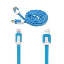 Blue 1m Flat Noodle USB Data Cable Charger Lead For iPhone 6/5S 5C 5 iPad AIR