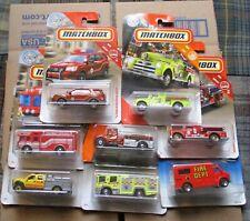 MATCHBOX LOT OF 8 MATCHBOX HOT WHEELS FIRE TRUCKS, RESCUE, EMERGENCY VEHICLES