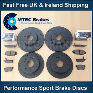 Civic 2.0i Type-R FN2 Front Rear Drilled Grooved Black Brake Discs MTEC Pads