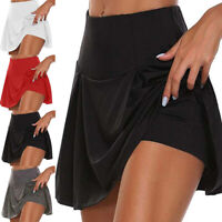 Women Athletic Pleated Tennis Golf Skirt with Shorts Workout Running Skort Pants