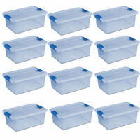 Sterilite ClearView Latch 15 Quart Plastic Storage Container Bin, Blue (12 Pack)