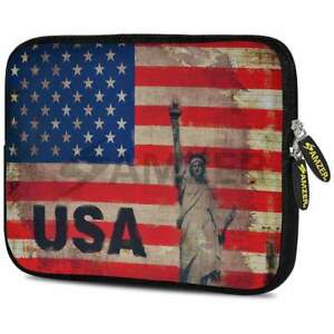 AMZER 7.75 Inch Rustic Liberty US Flag Neoprene Sleeve Cover For Tablets
