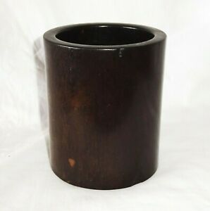 Vintage Chinese Hardwood Brush Pot for Scholars Desk w. Center Plug  (StP)