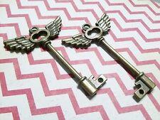 2 Steampunk Keys Bronze Key Pendants Skeleton Keys Key with Wings Unique Keys