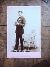 Antique CABINET CARD Occupational PHOTO of TRUMPET PLAYER sign B.L. AVERY ARTIST