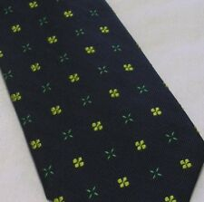 COLE HAAN FOUR LEAF CLOVER MEDALLIONS EMBROIDERY ON SILK TWILL MENS NECK TIE