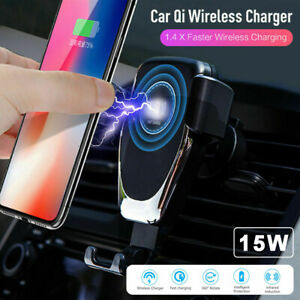 15W Qi Fast Charging Wireless Charger Car Mount Phone Holder Automatic Clamping