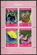 Chad 2019 CTO Butterflies Monarch Butterfly 4v M/S Papillons Insects Stamps