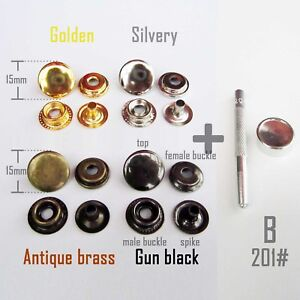 Metal 201 Snap Button Press Stud Leather Bag Clothes Popper Fastener + Tool Kit