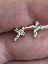 Real 925 Sterling Silver 14k Gold Finish Men Ladies Cross Earrings Studs Iced CZ