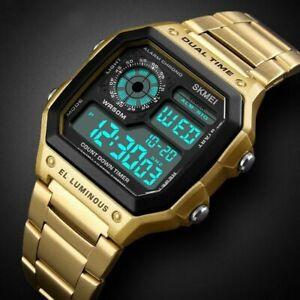 Men's Digital Quartz Wrist Watch Sports Army Waterproof LED Gold Stainless Steel
