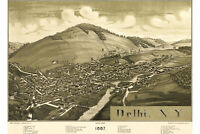 Map of Delhi, New York by Burleigh; 1887; Antique Birdseye Map