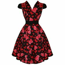 Hearts & Roses Swing Dress Black Size 10 & 16 Prom 50's Rockabilly Goth