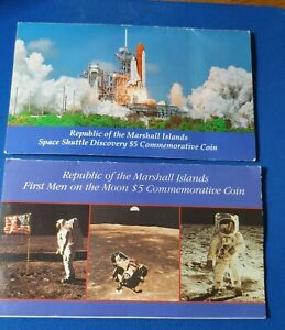MARSHALL ISLANDS  FIRST MAN ON THE MOON AND SPACE SHUTTLE $5 COINS IN FOLDER