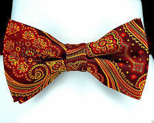 Red & Gold Damask Mens Bow Tie Adjustable Banded Wedding Fashion Bowtie New