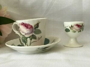Roy Kirkham Redoute Roses Espresso Cup & Saucers and Egg Cup