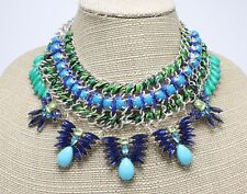 Bold New Statement Necklace with Vivid Green & Blue Rhinestones #N2660