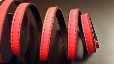 1 metro de imitación cuero plano con pespunte visto 10x2,5mm, color Rojo