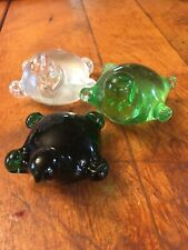 Vintage Glass Sea Turtle Collection Paperweight