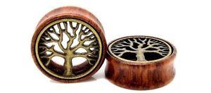 PAIR Wood & Brass Tree of Life Ear Tunnels Flesh Tunnels Ear Gauges Ear Plugs