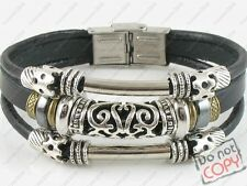 Tribal Jewelry Ethnic Black Leather Bracelet Wrist band Womens Mens #2 w/Clasp