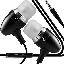 Aluminium Stereo In Ear Earbud Hands Free Earphones/Headphones+Microphone✔Black