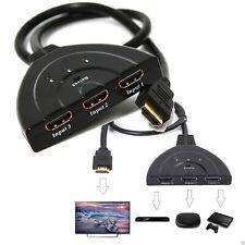 CAVO SWITCH HDMI 1080p 3 PORTE FULL HD TV PRESA MULTIPLA ADATTATORE SDOPPIATORE