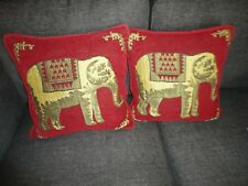 SAFARI ELEPHANTS RED GOLD VELVET AFRICAN (2) SQUARE THROW PILLOW COVERS 17 X 17