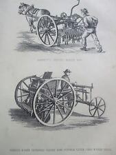 ANTIQUE PRINT C1800'S GARRETT'S PATENT HORSE HOE CLEVEN ROW CORN SEED DRILL ART