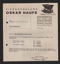 Königsbrück, carta 1939, Oskar Haufe hierro acto