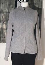 Elie Tahari Gray Front Full Zipper Mock Turtleneck Wool Angora Sweater Jacket M