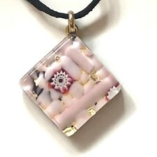 Venetian Murano Glass Necklace Pink Gold Flower Authentic