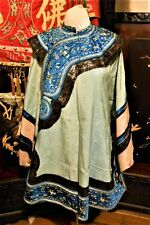 Beautiful Blue Antique 19th Chinese Silk Robe Embroidered Noble Woman Ching Qing