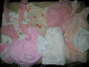 VTG BABY GIRL & BIG DOLL CLOTHING LOT~DRESSES, NIGHTIE, BONNET, BIB, CARRIER +