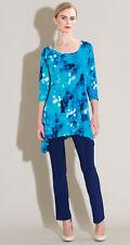 CLARA SUN WOO Water Drop Strap & Angle Neckline Tunic Turquoise Sz.S or M $89