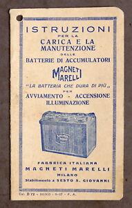 Magneti Marelli - Istruzioni Manutenzione Batterie di Accumulatori - 1937