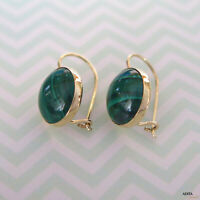 14K Solid Yellow Gold Round 12mm Malachite Handmade Drop Earrings - Summer Sale
