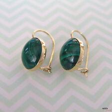 Handmade Drop Earrings - Summer Sale 14K Solid Yellow Gold Round 12mm Malachite