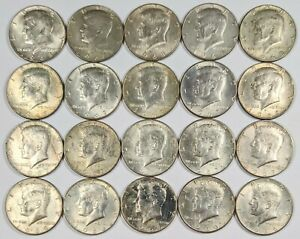 Lot of 20- 1966-1969 Kennedy Half Dollars 40% Silver 190824B