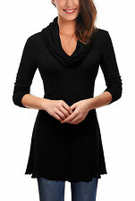 Cowl Neck Long Sleeve Casual Blouses for Women