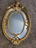 Vintage French Louis XVI Style Rococo Gold Wall Mantle Mirror Made in Italy