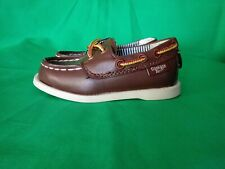 OshKosh Bgosh Toddler Boy Boat Loafer Shoes Alex Brown Lace-Up Size 5