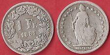 1 FR ARGENT 1887 B SUISSE  ÉTAT VOIR PHOTO ET DESCRIPTIF