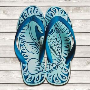 Hand Carved Unisex Flip Flops | Comfortable Adult Sandals | Japanese KOI
