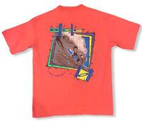 Vtg 90s Bugle Boy Men's Pink Double Sided Surfing Single Stitch T-Shirt Sz Large