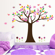 Árbol Grande Búhos Mariposa Bonito Adhesivos De Pared Arte Vinilo Pegatina