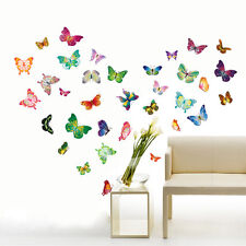 34 Colorful Butterflies Wall Stickers Mural Art Home Decoration Paper Transperen