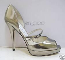 NIB Jimmy Choo PIRI Palladium Mirror Platform Shoes 38